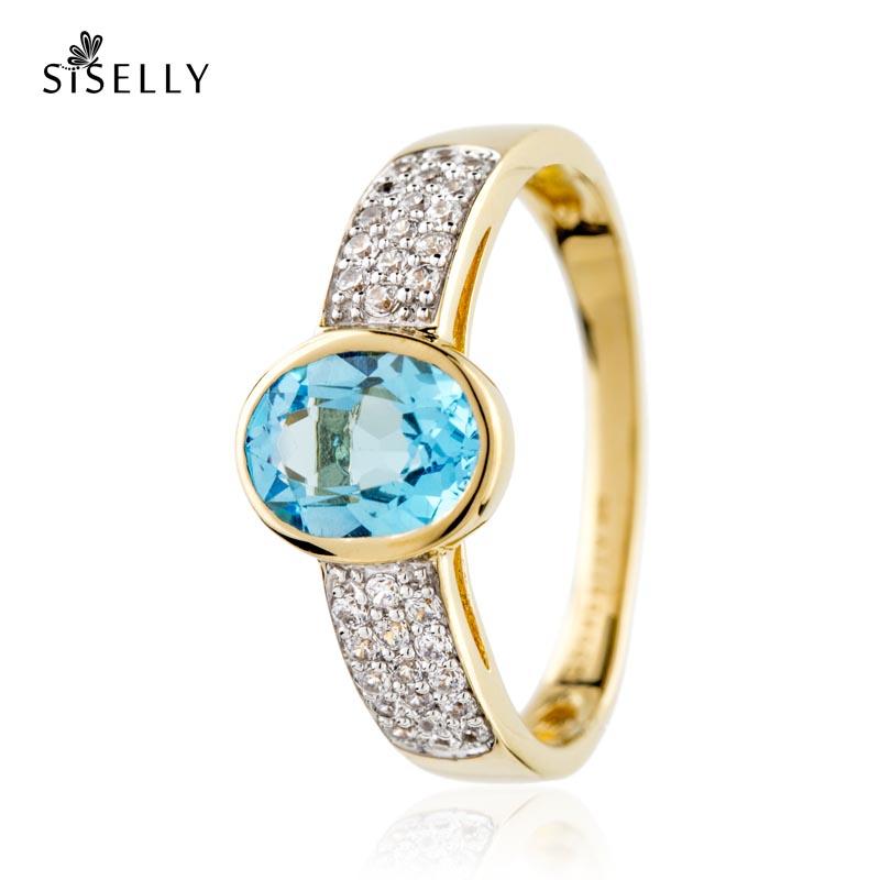 Suurepärane kingitus - kullaga kaetud hõbedast sõrmus Topaas kristalliga