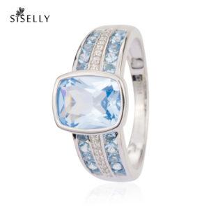 Siselly ehted sõrmused, hõbeehted ja hõbesõrmused, Sky Blue Nanokristallid. Suurepärane kingitus.